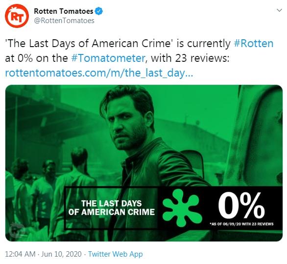 The Last Days Of American Crime ของ Netflix ได ร บ 0 เปอร เซ นต จาก Rotten Tomatoes