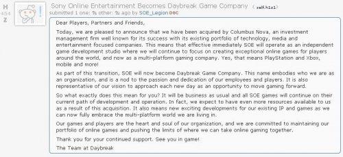 Sony Online Entertainment ถูกขายไปเป็นที่เรียบร้อยพร้อมเปลี่ยนเป็น